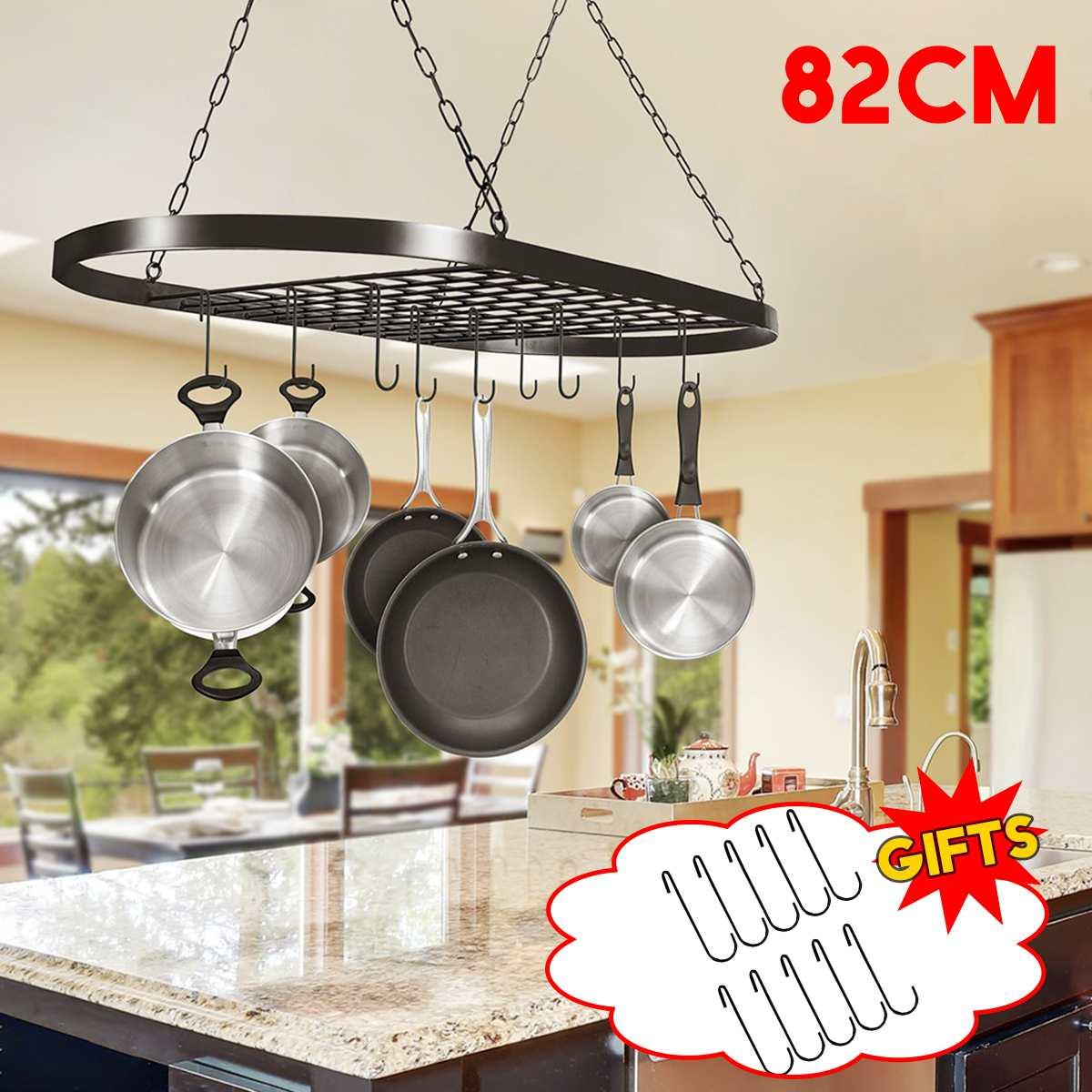 82x41x50cm Folding Hanging Iron Rack Storage Kitchen Organizer Pot Pan Ceiling Holder Shelf + 10 Hooks Racks & Holders     - title=