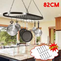 82x41x50cm Folding Hanging Iron Rack Storage Kitchen Organizer Pot Pan Ceiling Holder Shelf + 10 Hooks