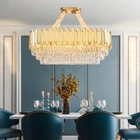 Rectangle Crystal Chandelier Lighting Lustre Cristal Living Room LED Chandeliers Kitchen Island Hanging Lamp Light Fixtures
