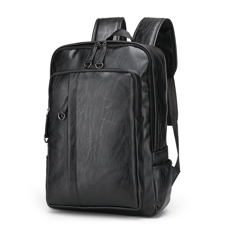 Laptop Backpacks Genuine Leather Men Backpack 15.6 inch Notebook Backpack Bag Business Travel Multifunction Backpack For Male image