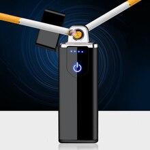 Rechargeable Lighter Gadget Flameless Smoking Fingerprint Electric Creative Windproof