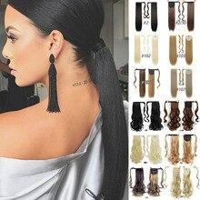 """MANWEI2"""" длинные толстые прямые кудрявые волосы на заколках в конском хвосте для наращивания термостойкие синтетические натуральные волнистые накладные волосы в виде хвоста пони"""