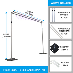 High Quality Aluminum Alloy Adjustable 6-10Ft Backdrop Frame Kit Double Crossbar for Wendding & Engagement Birthday Party