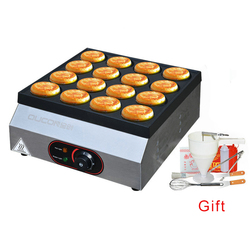 Commercial 16 Hole Gas Egg Burger Maker Electric Meat Egg Cooker 2.5*9cm Bread Pancake Machine Non-stick Coating Snack Machines