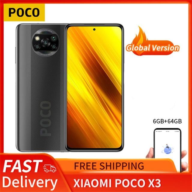 "POCO X3 6GB 64GB Xiaomi Smartphone Snapdragon 732G Octa Core 6.67"" Game Phone with 64MP Quad Camera FHD+ Display120Hz 5160mAh 1"