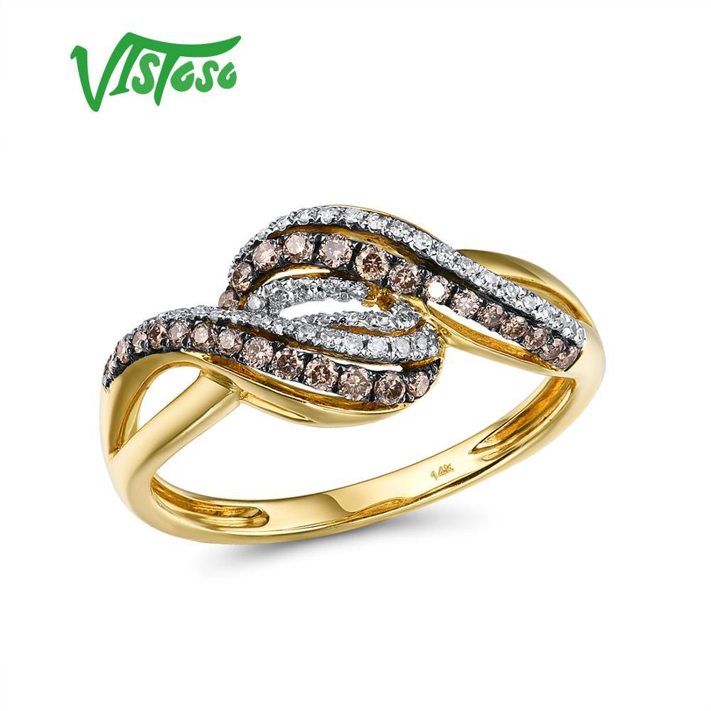 VISTOSO or anneaux pour dame véritable 14K 585 jaune bague en or étincelant blanc et brun diamant fiançailles anniversaire Fine bijoux