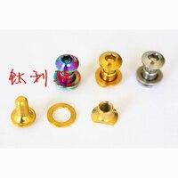 4 Kits M4x5mm Ti Golden Rainbow GR5 Titanium Bike Caliper Brake Screw Nut Washer