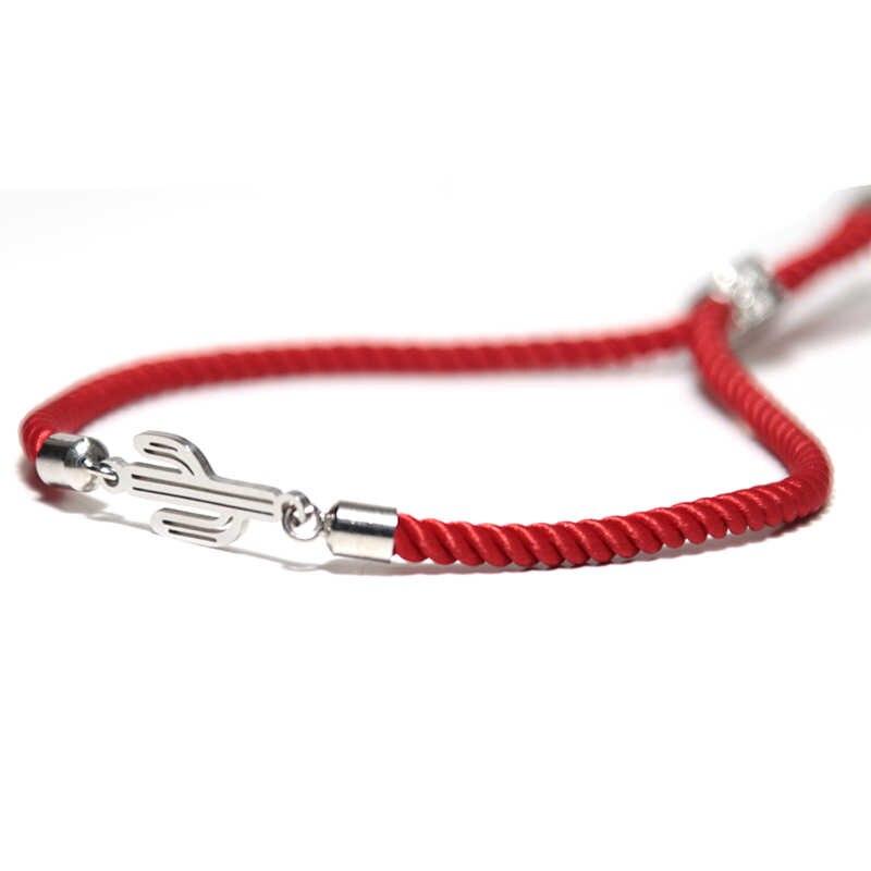 Noter Gevlochten Rode Draad Armband Voor Vrouwen Meisje Verstelbare Cactus Veer Braslet Infinity Liefde Geluk Armband Beste Vriend Joyas