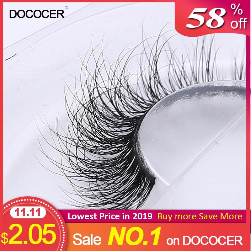 3D Mink Eyelash Real Mink Handmade Crossing Lashes Individual Strip Thick Lash Fake Eyelashes A02-in False Eyelashes from Beauty & Health