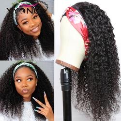 YYong Kinky Curly Headband Wig With Scarf Malaysian Jerry Curl Human Hair Wig Changable Scarf Glueless Wig For Women 8-24inch