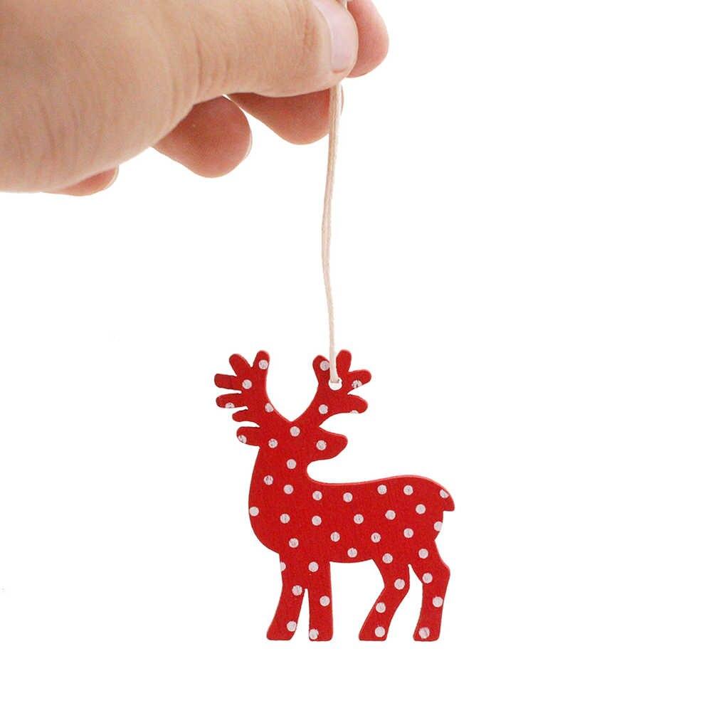 10pcs ไม้รูปแบบกวางแขวนเครื่องประดับเชือกคริสต์มาสแขวนจี้ Drop เดสก์ท็อปขนาดเล็กอุปกรณ์ตกแต่งคริสต์มาส