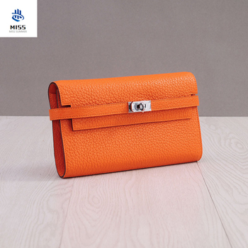 Concise Genuine Leather Wallet Woman Long Fund Head Layer Cowhide Hand Take Package Litchi Wen Kaili Package