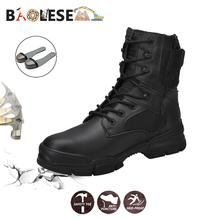 BAOLESEM Men Boots Work Safety Shoes Male Winter for Fashion Indestructible Watertight