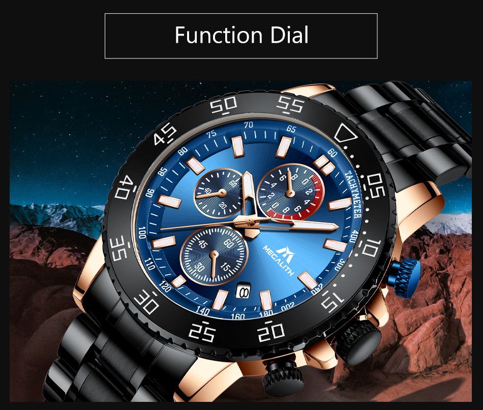 Hfcc1d3fd0ee7416f9164b19dad085fd8q MEGALITH Military Watches Men Stainless Steel Band Waterproof Quartz Wristwatch Chronograph Clock Male Fashion Sports Watch 8087