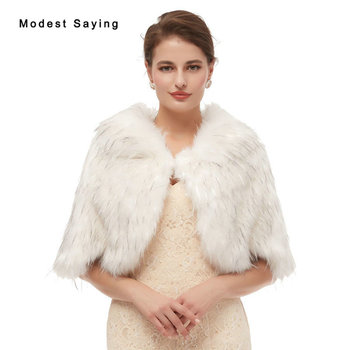 Ivory and Grey Faux Fur Wedding Shawls 2020 Women Winter Party Prom Lapel Collar Stoles Evening Warm Shrugs Wedding Accessories