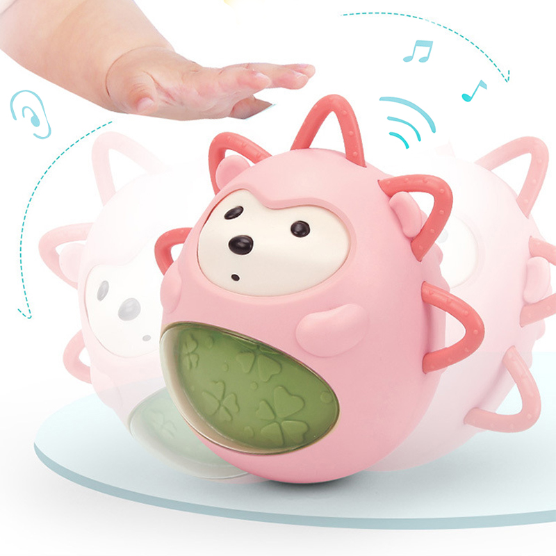 Cartoon Cute Hedgehog Teether Tumbler Balance Expression Vocal Bells Comfort Children Senses Toys Funny Gift  Animals