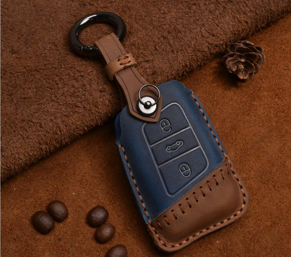 Fashion Car Genuine Leather Key Case Cover For VW Passat B8 CC Magotan For SKoda A7 Octavia Superb Remote Key Protect Accesories
