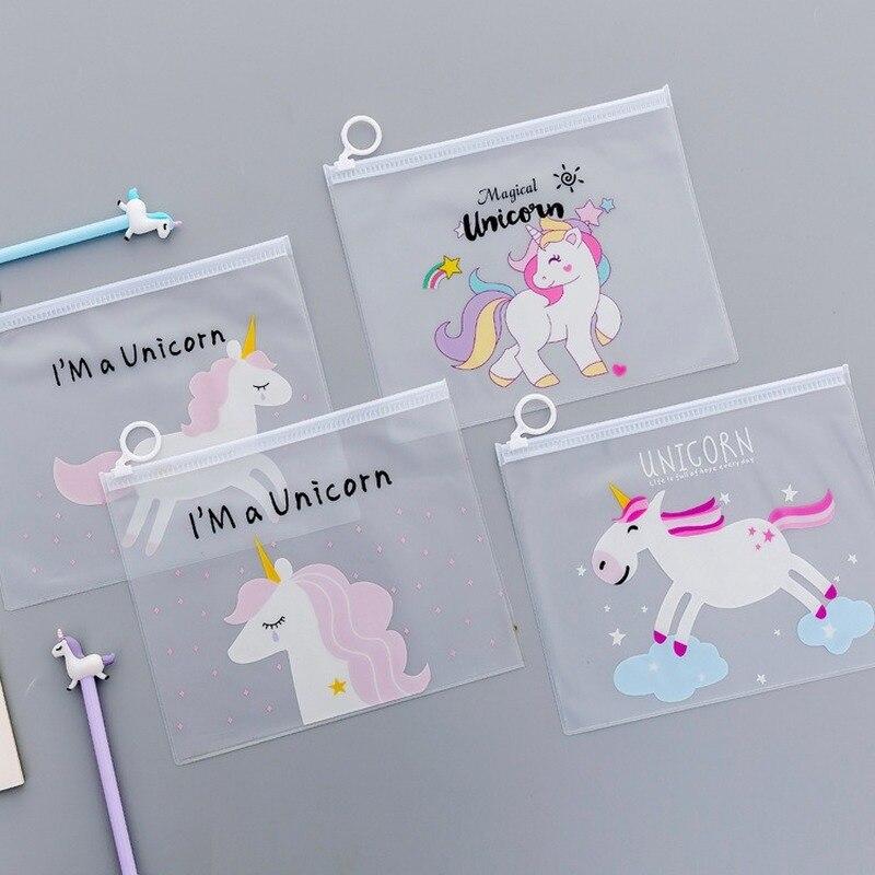 Translucent Pencil Case Cute Girl Heart Stationery Portfolios Creative Water Unicorn Small Fresh Storage Bag Office Portfolio