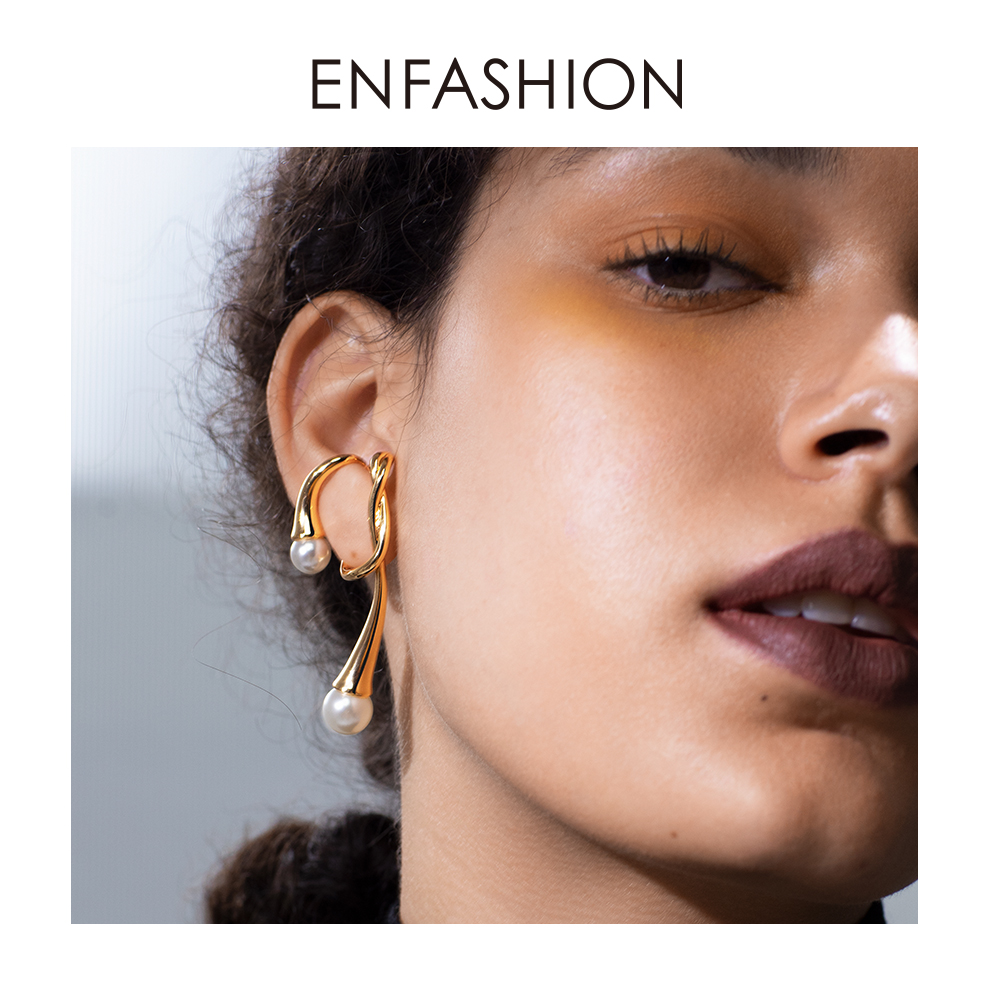 ENFASHION Irregular Knot Pearl Ear Cuff Clip On Earrings For Women Gold Color Earcuff Fashion Jewelry Wholesale Kolczyki E201148