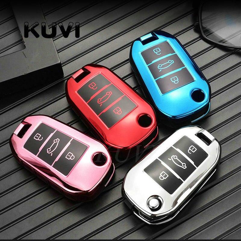 ТПУ Автомобильный складной чехол для ключей с полным покрытием, держатель для Peugeot 3008 208 308 508 408 2008 307 4008 для Citroen C4 C4L CACTUS C3 C6 C8