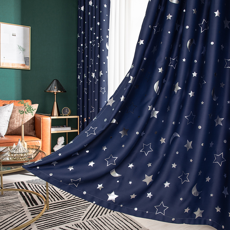 Blackout Curtains Panel Cortina Bedroom Living-Room Star for Kid's Para Sala