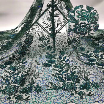 Sequin embroidered African embossed lace French lace fabric Green high quality tulle Nigerian cord lace fabric for wedding K-L91