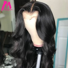 360 lace frontal wig Brazilian Body Wave 250 Density 6x13 lace front human hair wigs for black women preplucked with baby hair(China)
