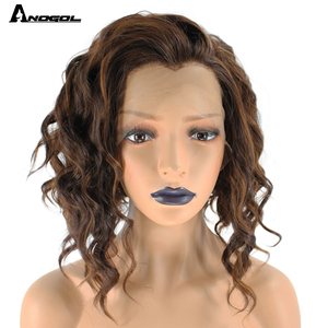 Image 2 - Anogol wdowa szczyt włosy z włókna wysokowytrzymałego wolna część 2 tony mieszane brązowy krótkie głęboka fala syntetyczna koronka peruka Front dla kobiet