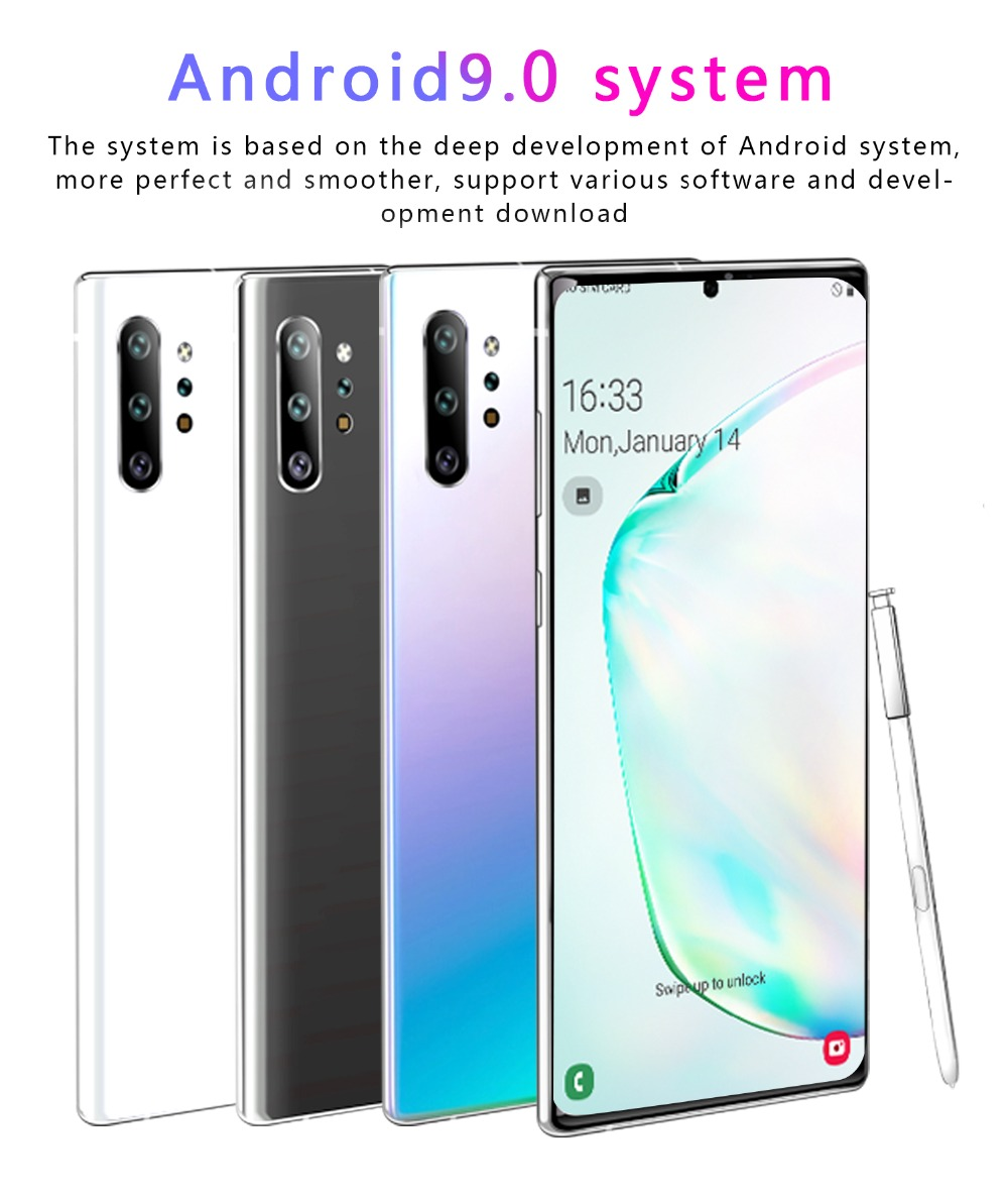Cectdigi Note 10+ Android 9.0 4800mAh 1GB RAM 16GB ROM Smartphone 6.5 inch Full view Display screen Dual cameras Mobile Phone