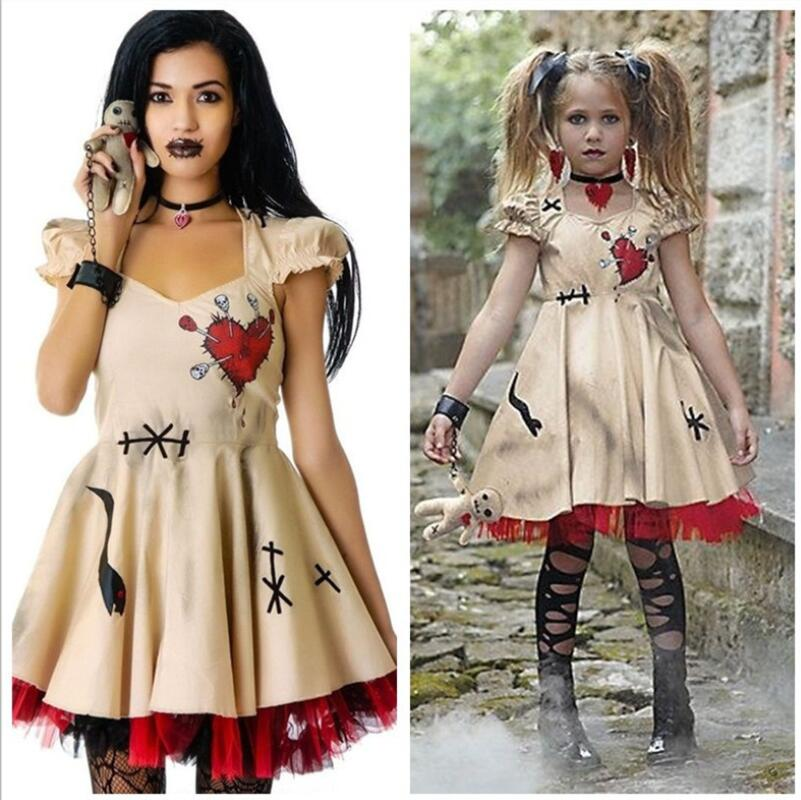 Halloween Costume Voodoo Doll Dress Costumes Wedding Ghost Bride Cosplay For Women Adult Mother & Daughter Anime Girls Vampire