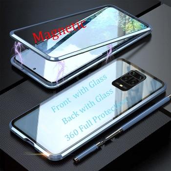 Перейти на Алиэкспресс и купить Для Xiaomi Redmi Note 9s 9 Pro Max Магнитный чехол передний + задний двухсторонний 9H чехол из закаленного стекла Redmi Note 9S металлический бампер
