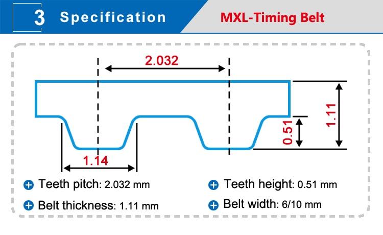 72MXL 10 mm Ancho 2.032mm Pitch 90 Dientes Correa dentada para Motores paso a paso