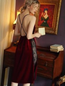 Image 3 - Sexy Nightgown Women Sleepwear Fall/winter Gold Velvet Beauty Back Suspender Dress Lace Side Split Temptation Hot Nightdress