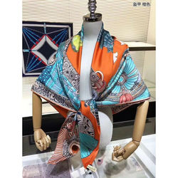 100% Silk Scarf Women Fashion Luxury Warrior Armor Print Kerchief Bandana Head Neck Large Blanket Shawl Hijab Wraps 135*135cm