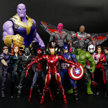 17CM Avengers Iron Man Captain America Thanos Vision Scarlet Witch Ant-Man Falcon War Machine PVC Action Figure Toys kids gift