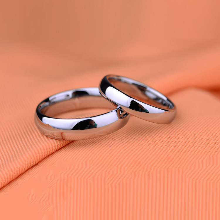 Fashion simple titanium steel plain couples ring 6mm and 4mm rings Wedding Promise Engagement Rings For Women