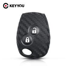Брелки KEYYOU для Renault Duster, Clio, DACIA, 3, мягкие кнопки для Nissan Carbon силиконовый чехол для ключей от машины, 2 кнопки