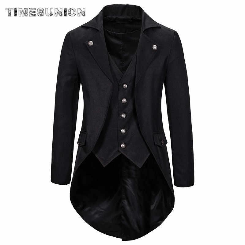 Gothic Heren Jas Tailcoat Jas Geklede Jas Uniform Kostuum Praty Uitloper Fashion Lange Jas Mannen 2020 Overjas Uniform Voor mannen