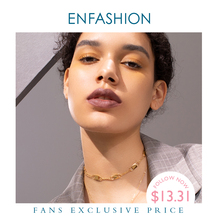 ENFASHION Lock Crystal Choker Necklace Women Gold Color Stainless Steel Punk Pendants Necklaces Femme Fashion Jewelry P193037