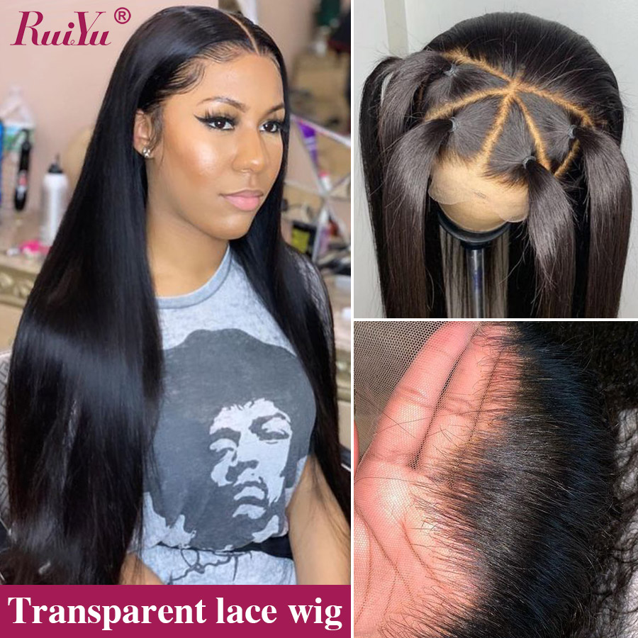 180 Density Transparent Lace Frontal Wig 13x6 Brazilian Straight Lace Front Human Hair Wigs Pre Plucked RUIYU Remy Hair Glueless