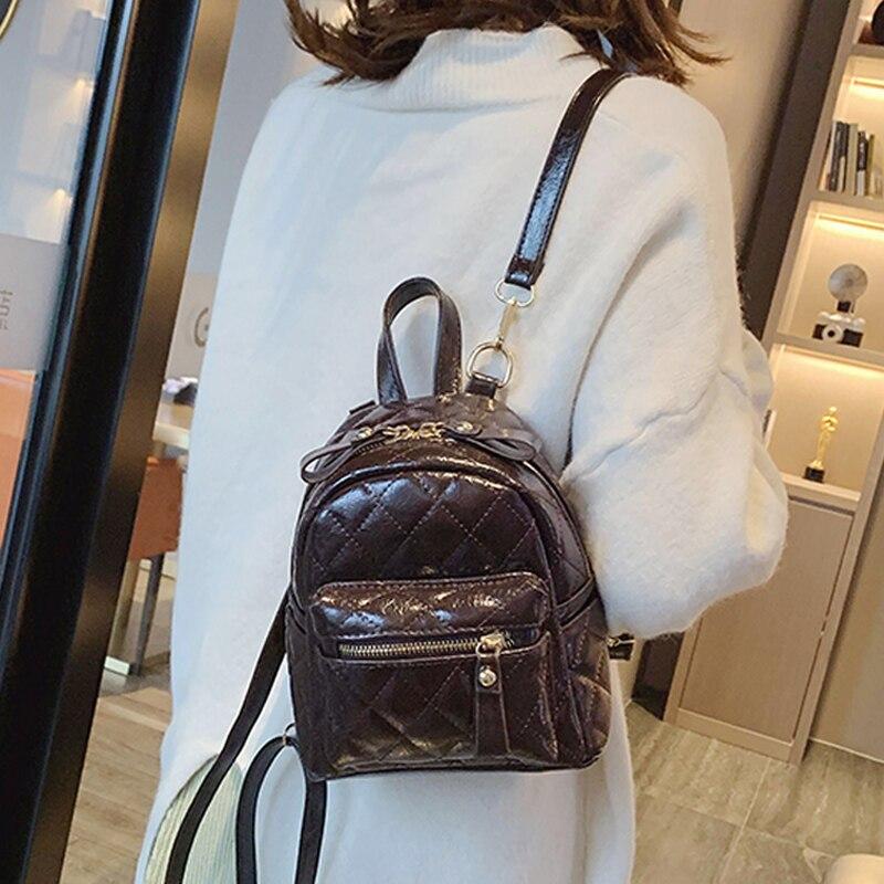 Women Fashion Small Backpack Pu Leather School Bag Backpacks For Teenage Girls Travelling Plecak Shoulder Bags Bagpack  Mochila