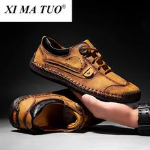 Luxury Split Leather Men Shoes Hand Sewing Man Casual Shoes Welt Stitching Loafers Flats Male Leisure Shoe Big Size 39-48
