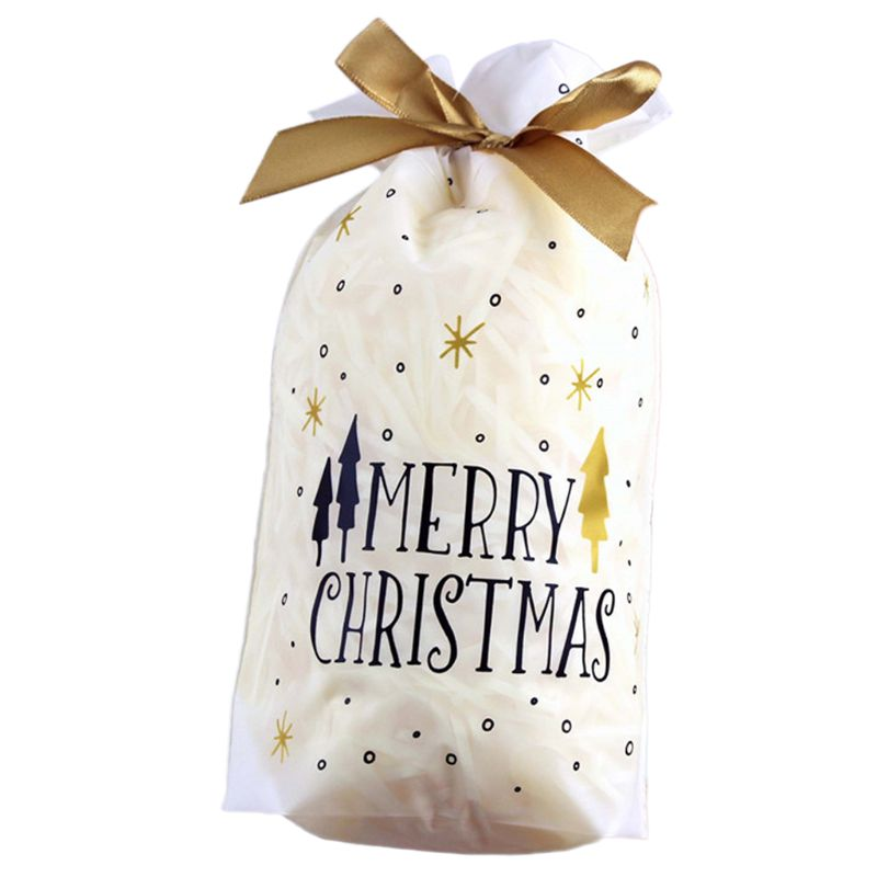 10Pcs 10Pcs Merry Christmas Rectangle Plastic Candy Bags With Ribbon Drawstring Letters Xmas Tree Printed Cookie Container Party