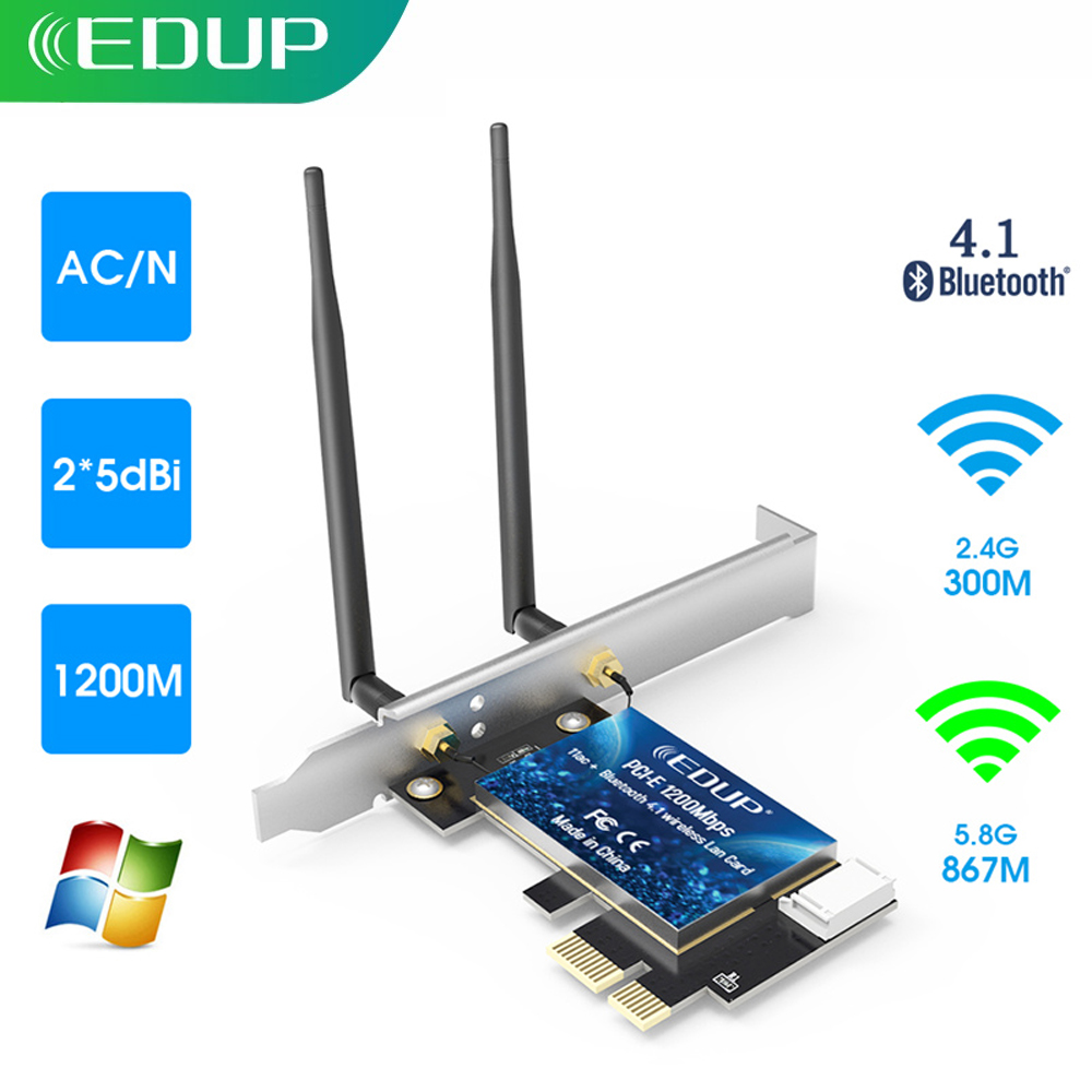 EDUP WiFi PCI Express Adapter Dual Band 5GHz/2.4GHz Wireless Bluetooth PCI-E Network Card Adapter for PC Desktop Windows 10(China)