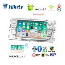 """Hikity kit multimídia automotivo, 2 din, rádio, 7 """", android 8.1, player multimídia, com gps, wi fi, ios, android, espelhamento com celular para ford foco estéreo automotivo para carro"""