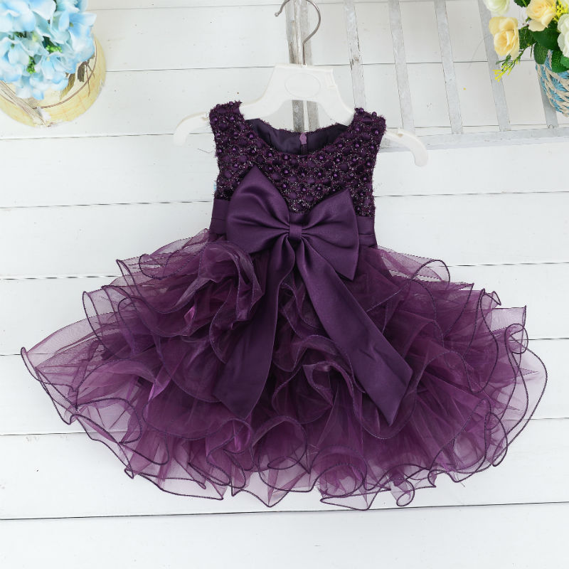 Girls Baby BABY'S FIRST Month A Year Of Age Wine Formal Dress Children Sleeveless Pearl Gauze Tutu Children Wedding Dress