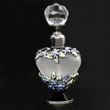 Nuevo 5ml Vintage cristal flor con forma de corazón Metal vacío Perfume botella boda decoración regalo