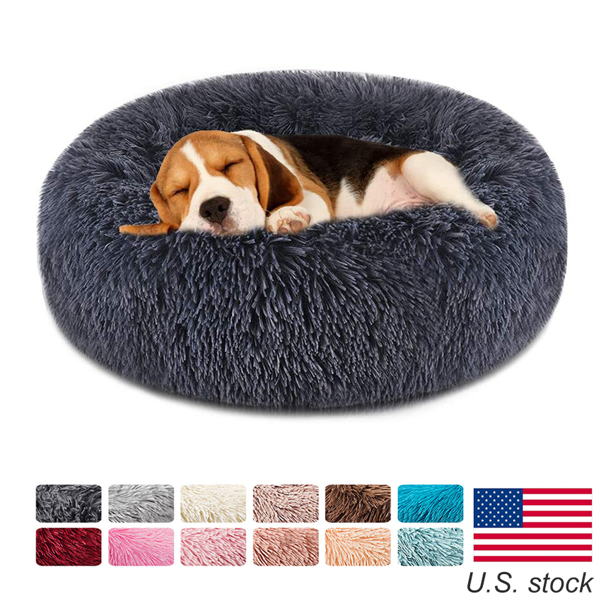 Soft Pet Dog Bed Round Winter warm Long Plush Dog House Cushion Cat Beds Mats Sofa for Samll large Dogs kennel Pet supplies