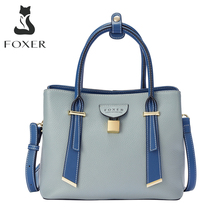 FOXER Top Handle Bags Women's Clutch Bag Fashion Handbags Lady's Split Leather Crossbody Shoulder Bags Chic Purse Female Totes