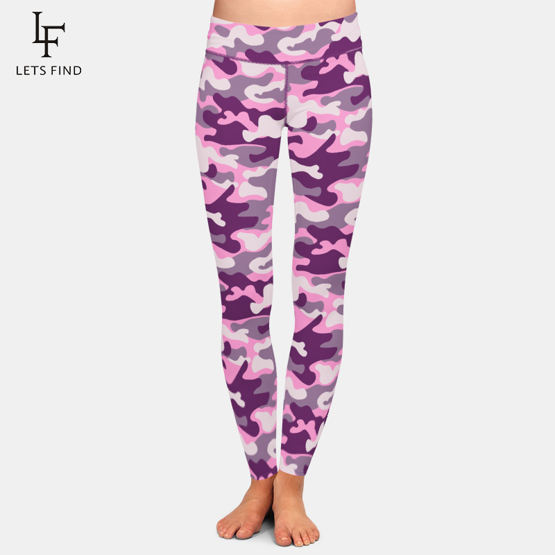 LETSFIND High Waist Workout Leggings Fashion Pink Camouflage Digital Printing Plus Size Women Warm Leggings